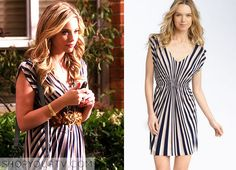 Hanna Marin (Ashley Benson) wears this black and white striped dress in this episode of Pretty Little Liars. It is the Remain Knit Dress. Sold Out.