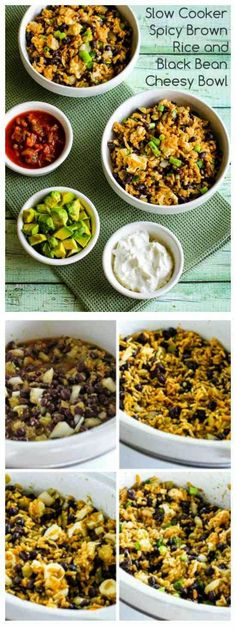 Slow Cooker Spicy Brown Rice and Black Bean Cheesy Bowl from Kalyn's Kitchen is easy and delicious for a #MeatlessMonday dinner.   [Featured on SlowCookerFromScratch.com]