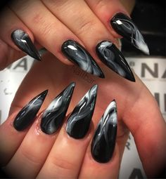 Nail art is a very popular trend these days and every woman you meet seems to have beautiful nails. It used to be that women would just go get a manicure or pedicure to get their nails trimmed and shaped with just a few coats of plain nail polish. Dark Nail Designs, Nail Art Designs, Nails Design, Ongles Goth, Tumblr Nail Art, Goth Nails, Goth Nail Art, Marble Nail Art, Black Marble Nails