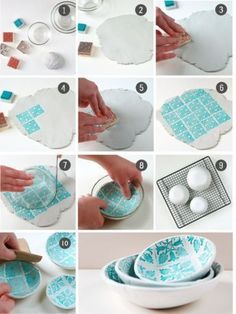 DIY: Ceramic bowl with pattern (Aubrey and Me) - Keramik Ceramic Clay, Ceramic Bowls, Ceramic Pottery, Clay Projects, Clay Crafts, Diy And Crafts, Fun Projects, Pottery Techniques, Idee Diy
