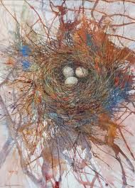 Bird's Nest Lesson- Birds make nests that are their home. Students will create a birds nest that represents home to them. A 3-D / 2-D project that explores self & home and how we construct these. using a nest as metaphor. Materials, twigs, found objects, magazine clippings, string, yarn etc.