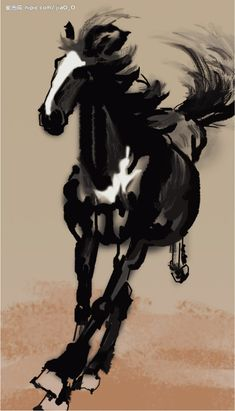 Running Horse by Xu Beihong, Master of Chinese ink paintings