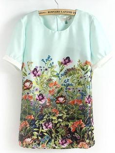 Light Green Short Sleeve Florals Print Blouse, for US$26.00 at Sheinside. everybody needs a lovely chiffon blouse, and this adorable piece caught my attention with it's pretty floral patterns. see the meadow, feel the meadow, be the meadow