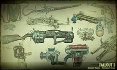 This week, the video game world lost a great concept artist. Adam Adamowicz was one of the concept artists behind Fallout 3 and Skyrim, two visually stunning games. Take a look back at Adamowicz's designs for Fallout's retrofuturistic apocalypse. Fallout Art, Fallout 4 Weapons, Fallout New Vegas, Skyrim, Homemade Weapons, Weapon Concept Art, Game Concept, Fan Art, Retro Futuristic