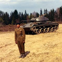 The Norwegian King during his NCO school year in front of his chaffee in 1956. [595x595]