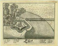 Esseck. – [S.l. : s.n. ;, 1650-1700.]. Na lijevoj strani prikaza nalazi se osječka Tvrđa te grad u plamenu. Na desnoj strani otiska je rijeka Drava sa Sulejmanovim mostom.