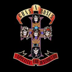 """Guns N' Roses: Appetite for Destruction 1987 (c) Geffen  The album's originalcover art, based on theRobert Williams' painting """"Appetite for Destruction"""", depicted a robotic rapist about to be punished by a metal avenger. After several music retailers refused to stock the album, the label compromised and put the controversial cover artinside, replacing it with an image depicting a cross and skulls of the five band members (designed by Billy White Jr., originally as"""