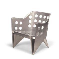 Aluminum chair by Gerrit Rietveld calar silla metal agujeros plano doblar