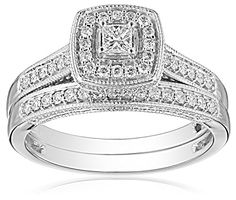 IGI-Certified 14k White Gold Princess-Cut Diamond Bridal Ring Set (0.5 cttw, H-I Color, I1-I2 Clarity)