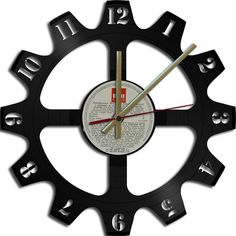 Too cool...Gear Theme Vinyl Record Clock Upcycled vinyl records Great Gift…