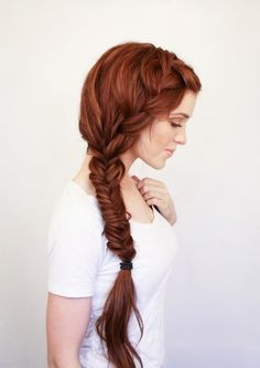 Thick, red, bohemian side braid / plait #hair