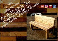 Pallet wood garden bench. Suitable for indoor and outdoor. #naileditpalletfurniture #palletfurniture #palletfurnituredurban #custompalletfurniture