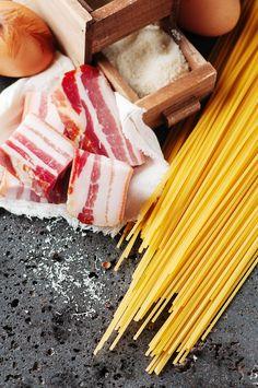 Ingredients for making pasta carbonara by Oxana Denezhkina on 500px