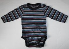 The Children's Place TCP Baby Boys 18 Months Longsleeve Bodysuit~Adorable Striped onesie with red, light blue,navy blue and white stripes. Great shirt for layering!   Tag says 18 Months, which in TCP clothing covers 12-18 Months, but my son wore them until 24 months.