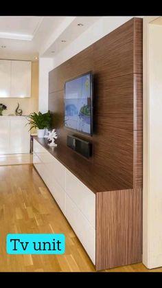 Tv Unit Furniture Design, Tv Unit Interior Design, Interior Design Living Room, Living Room Wall Units, Living Room Tv Unit Designs, Living Room Decor, Tv Cabinet Design, Tv Wall Design, Tv Wall Cabinets