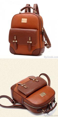 New British Style Vintage Leather Backpack for big sale! #british #backpack #Bag #college #school #student