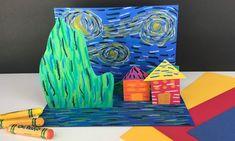 Art Lessons For Kids, Artists For Kids, Art Lessons Elementary, Art For Kids, Van Gogh For Kids, 3d Art Projects, School Art Projects, Kindergarten Art, Preschool Art