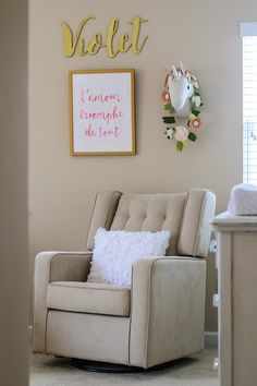 Take A K Into Violet S Nursery Room By Elizabeth Kimbrough Book Of Leisure Featuring Delta Children Upholstered Paris Glider
