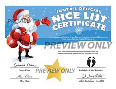 Santa's Official Nice List Certificate! Printable and Magical!! www.easyfreesantaletter.com
