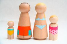 Custom Family of 4 OOAK HandPainted Wooden Peg by goosegrease. $100.00, via Etsy.