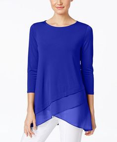 Alfani Chiffon Crossover-Hem Top, Only at Macy's - Women - Macy's
