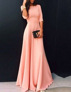 Coral Long Satin With Half Sleeves A-line Floor Length Bridesmaid Dress