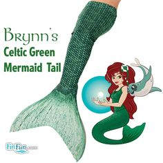 This tail is perfect if you are looking to dress up like Ariel from The Little Mermaid for Halloween or just for cosplay. This tail is not just a costume, but truly swimmable and realistic! Live your dream! Brynn's Celtic Green Mermaid Tail