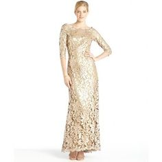 Tadashi Shoji Gold sequined lace long sleeve gown - Polyvore