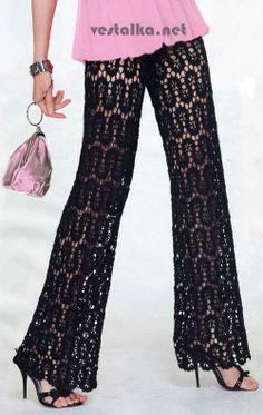 e-legantny-e-kruzhevny-e-bryuki Bruges Lace Pants Gilet Crochet, Crochet Pants, Crochet Skirts, Crochet Clothes, Crochet Lace, Lace Pants, Lace Outfit, Crochet Woman, Crochet Fashion