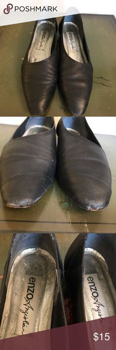 a6a6869f800 Enzo Angiolini 7 Black Double Leather Flats Good vintage condition