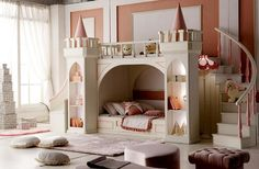 Luxury little Girl Princess Castle Bunk Bed