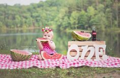 Watermelon/ picnic ONE year photo shoot. Photo credit to Autumn Sturgill Photography.