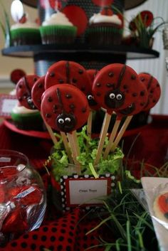Oreo pops at a ladybug birthday party! See more party ideas at CatchMyParty.com!