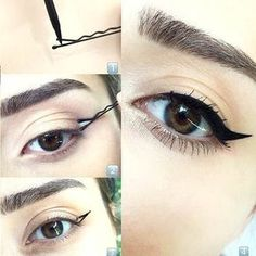 No effing way! LOOK at this trick for a winged eyeliner Cham.- No effing way! LOOK at this trick for a winged eyeliner No effing way! LOOK at this trick for a winged eyeliner – – - Eyeliner Hacks, Cat Eyeliner, How To Apply Eyeliner, Applying Eyeliner, Perfect Winged Eyeliner, Tips For Winged Eyeliner, Eyeliner Pencil, Eyeliner Brands, Eyeliner Styles
