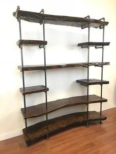 Live Edge shelves - Industrial shelving - Pipe shelving - Pipe shelves Live Edge Shelves, Pipe Shelves, Industrial Shelving, Industrial Style, Live Edge Wood, Shoe Rack, Hardwood, Interior Design, Home Decor
