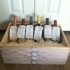 "Engagement party gift: Wine crate decorated & filled with couples ""firsts"". First Fight, First Home, First Christmas, First New Years, First Anniversary, First Baby. Add a tag with stickers and poems for each ""first"". I also matched wines to go with each ""first""."