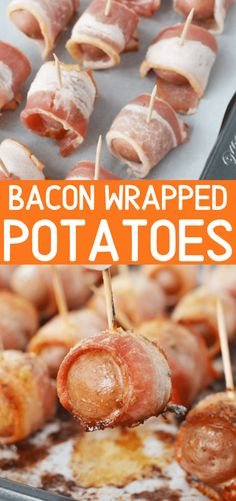 Bacon Wrapped Potatoes Baked in Oven makes a perfect Appetizer or Side Dish - Potato Recipes Bacon Wrapped Appetizers, Best Party Appetizers, Potato Appetizers, Appetizer Recipes, Appetizer Ideas, Potluck Recipes, Bacon Recipes, Cooking Recipes, Baked Potato Recipes