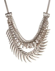 New Look Three Row Grunge Spike Necklace