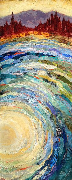 Looking to add an uplifting touch of nature to your interior space? Check out these colorful mixed media paintings by local artist, Shelli Walters. Paper Collage Art, Collage Art Mixed Media, Mixed Media Painting, Collage Landscape, Landscape Art Quilts, Multimedia Arts, Nature Sketch, Expressive Art, Assemblage Art