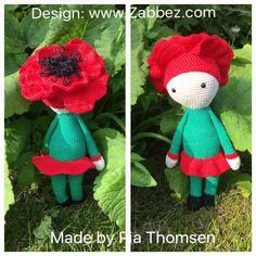 Valmue Paola blomst dukke lavet af Pia Thomsen - hækleopskrift ved Zabbez
