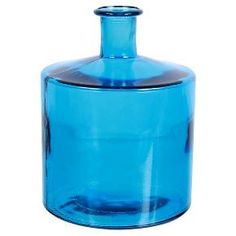 """Recycled decorative straight glass vase. Vibrant lagoon color. Additional coordinating pieces available from this collection. 11"""" Height."""