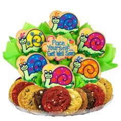 Get Well Soon Cookie Arrangement with hand decorated sugar cookies surrounded by gourmet cookies. Can be personalized.
