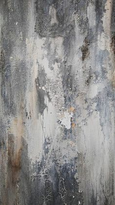 Gray Blue An original textured abstract by Amy Neal on professional gallery-wrapped 16 x 40 x 1.5 canvas. A modern rustic distressed finished with beautiful organic texture. Acrylic shades of gray, blue, and white with accents of neutral inky brown and gold leaf. This 16 x 40 size