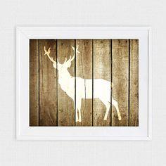 rustic deer nursery art  printable file  faux wood by iDIYjr, $5.00