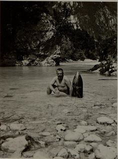 WW1, Slovenia. Bathing in the Moscenca with a shell that didn't explode July…
