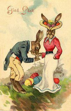 She's just not that into you.  Vintage Easter postcard with anthropomorphic rabbits.