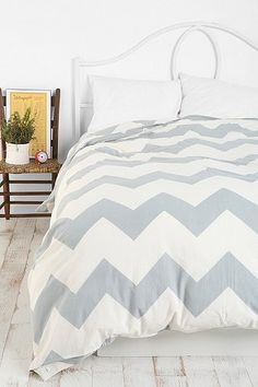 Zigzag Duvet Cover. Comes in yellow, aqua, black, brown or grey. $79 for queen; $99 for king