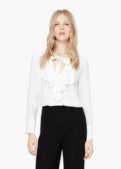 Blusa folho decorativo -  Mulher | MANGO