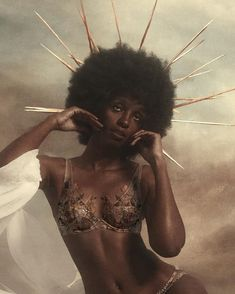 This photo inspires me due to its ability to combine mediums in a way that brings fantasy to life The background is oil painting. The image is both soft and sharp and this aids in its themes of feminist divine. Black Girl Art, Black Women Art, Beautiful Black Women, Black Girl Magic, Black Art, Art Girl, Black Women Beauty, Black Girl Aesthetic, Aesthetic Art