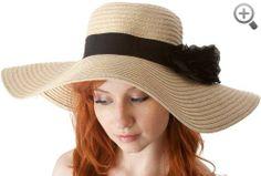 Womens UPF 50+ 100% Paper Straw Flower Accent Wide Brim Floppy Hat